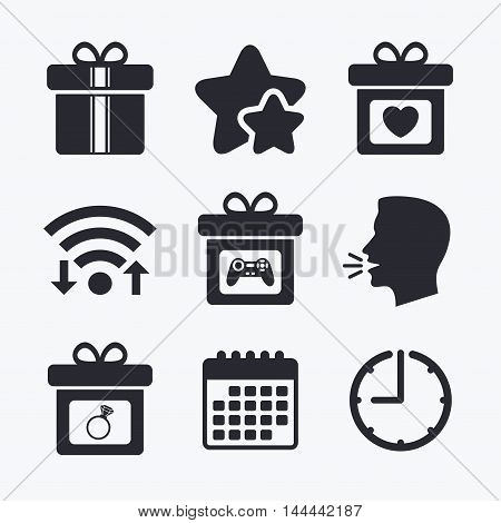 Gift box sign icons. Present with bow and ribbons symbols. Engagement ring sign. Video game joystick. Wifi internet, favorite stars, calendar and clock. Talking head. Vector