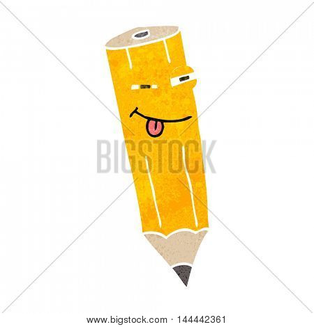 happy freehand drawn retro cartoon sly pencil