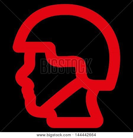 Soldier Head vector icon. Style is linear flat icon symbol, red color, black background.