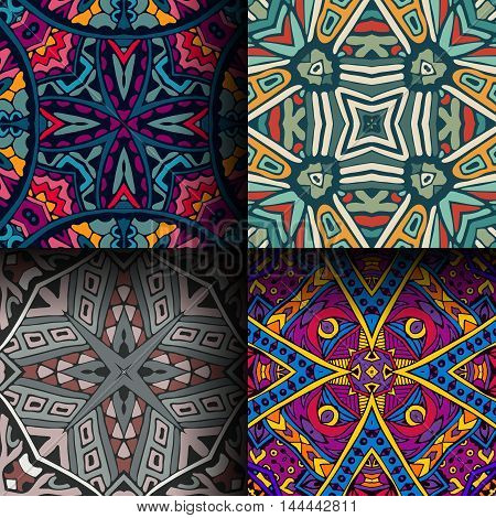 colorfull ethnic seamless patterns. Tribal geometric background. Stylish trendy fabric. Modern abstract wallpaper.