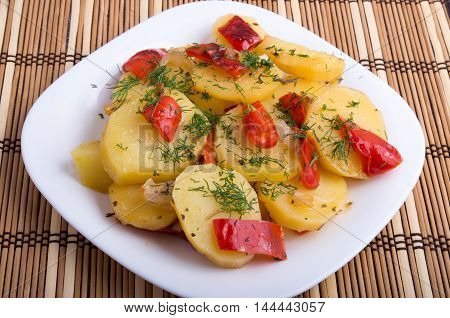 Closeup View On Slices Of Potato Stew With Vegetables