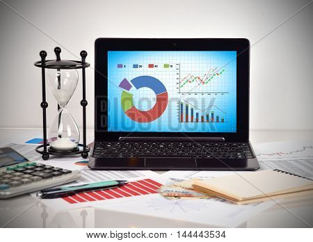 Stock Chart On Screen Laptop