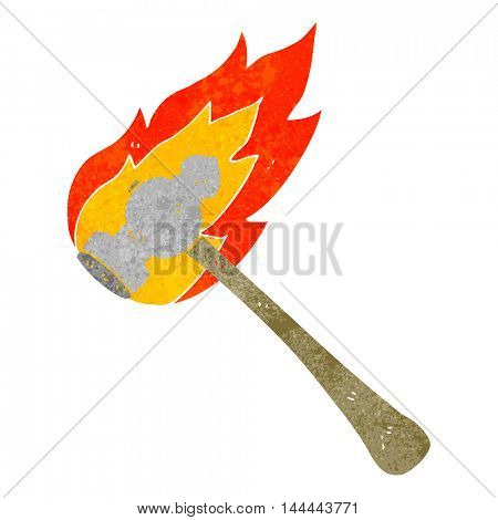 freehand drawn retro cartoon flaming hammer