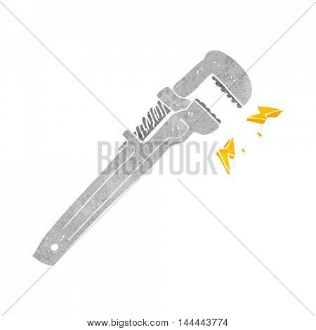 freehand drawn retro cartoon adjustable wrench