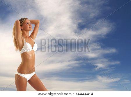 Señora Sexy llevar traje de baño sobre antecedentes de cielo y mar
