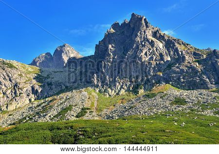 Summer mountain landscape. Beautiful rocky peaks in High Tatra Slovakia.
