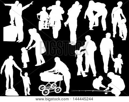 illustration with child and parents silhouettes collection isolated on black background