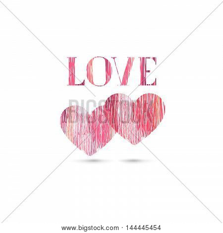 Love sign background. Love Happy Valentines day card. Pencil drawing lettering greeting card sketch design