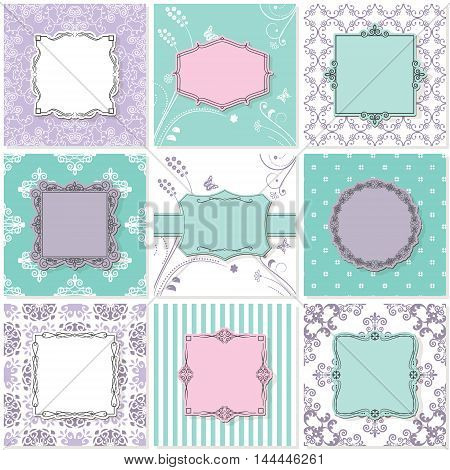 Frames and patterns. Vintage templates for wedding invitation cards and banners.