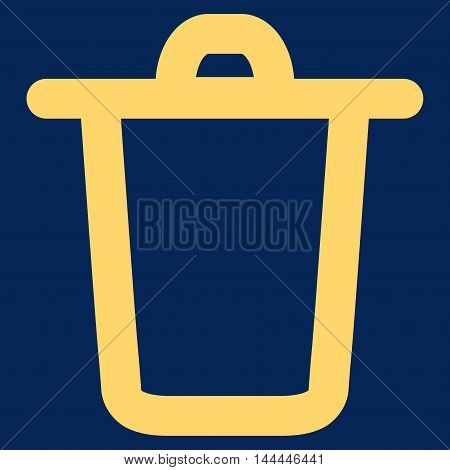 Bucket vector icon. Style is outline flat icon symbol, yellow color, blue background.