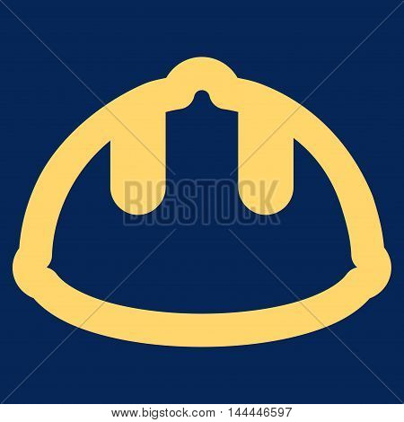 Builder Helmet vector icon. Style is contour flat icon symbol, yellow color, blue background.