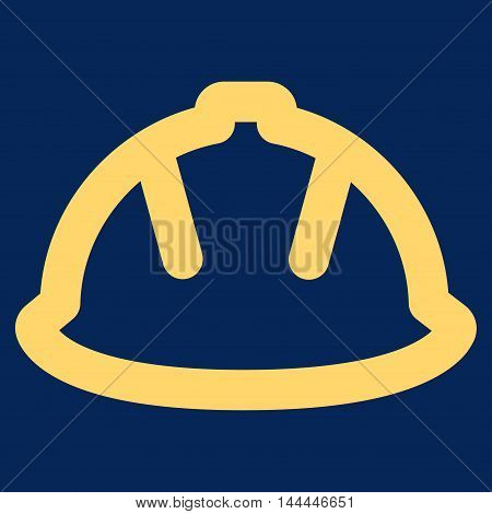 Builder Helmet vector icon. Style is outline flat icon symbol, yellow color, blue background.