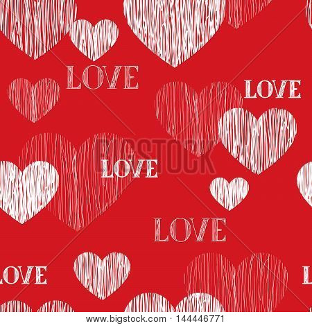 Love Heart Seamless Pattern. Happy Valentines Day Wallpaper. Love Heart Pencil Sketch Tiled Backgrou