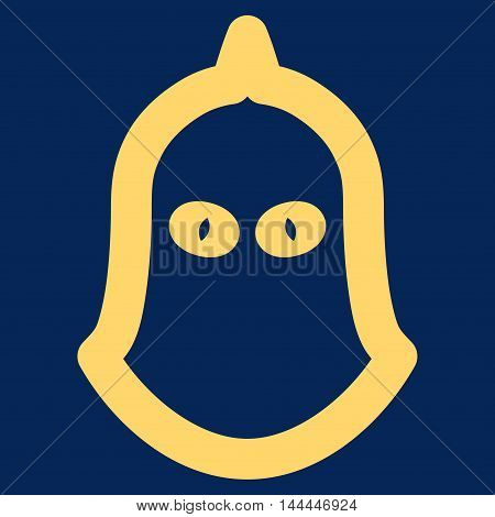 Executioner Helmet vector icon. Style is outline flat icon symbol, yellow color, blue background.