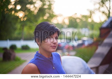 Portrait Of A Mature pensive Woman outdoor
