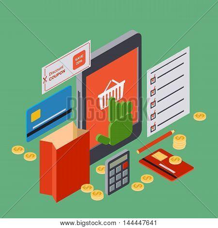 Online shopping flat isometric 3d vector concept illustration