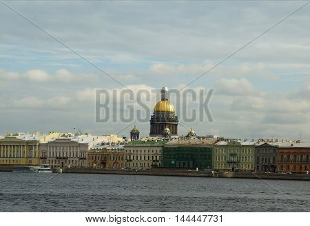 View of the Admiralty embankment in St. Petersburg