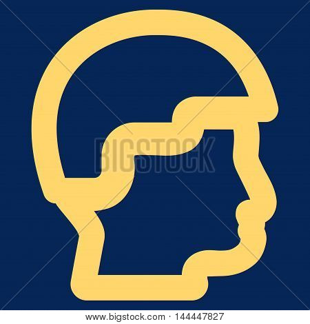 Sergeant Head vector icon. Style is outline flat icon symbol, yellow color, blue background.