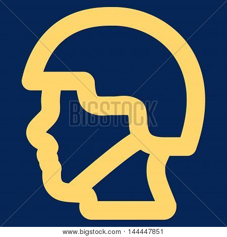 Soldier Head vector icon. Style is stroke flat icon symbol, yellow color, blue background.