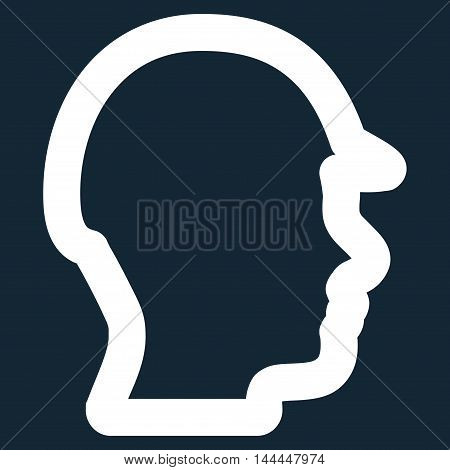 Builder Head vector icon. Style is outline flat icon symbol, white color, dark blue background.