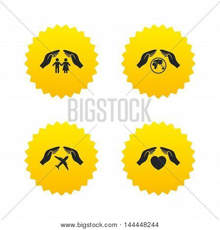 Hands insurance icons. Human life insurance symbols. Heart health sign. Travel flight symbol. Save world planet. Yellow stars labels with flat icons. Vector