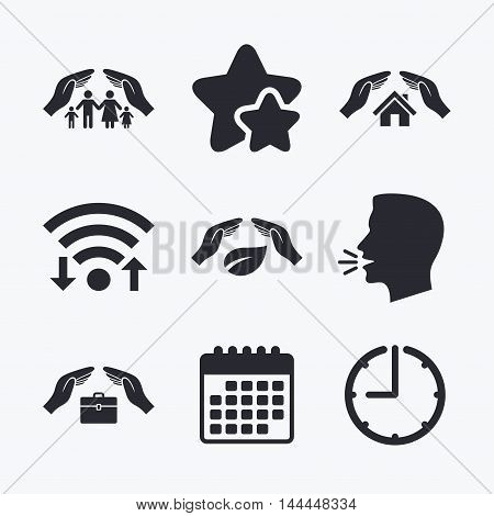 Hands insurance icons. Human life insurance symbols. Nature leaf protection symbol. House property insurance sign. Wifi internet, favorite stars, calendar and clock. Talking head. Vector