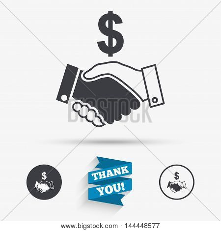 Dollar handshake sign icon. Successful business with USD currency symbol. Flat icons. Buttons with icons. Thank you ribbon. Vector