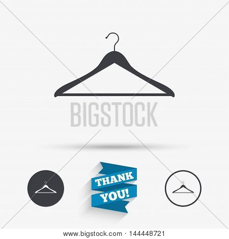 Hanger sign icon. Cloakroom symbol. Flat icons. Buttons with icons. Thank you ribbon. Vector