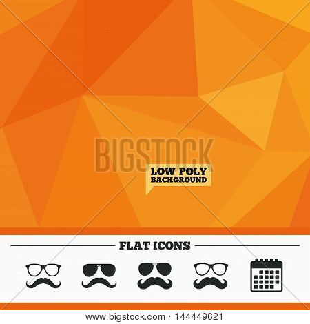 Triangular low poly orange background. Mustache and Glasses icons. Hipster symbols. Facial hair signs. Calendar flat icon. Vector