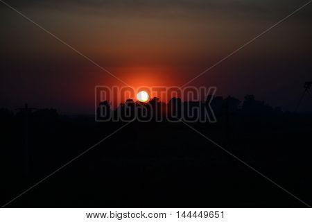 Sunset over the field, August, Transylvania, Romania