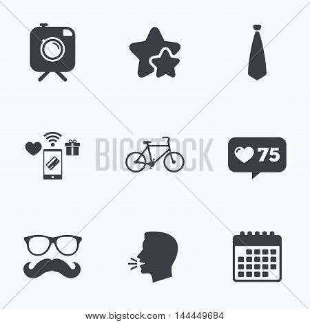 Hipster photo camera with mustache icon. Glasses and tie symbols. Bicycle family vehicle sign. Flat talking head, calendar icons. Stars, like counter icons. Vector