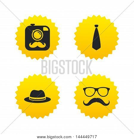 Hipster photo camera with mustache icon. Glasses and tie symbols. Classic hat headdress sign. Yellow stars labels with flat icons. Vector