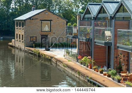 Canalside houses along the Grand Union Canal