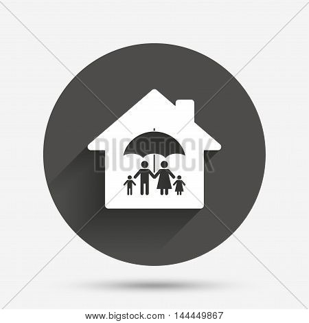 Complete family home insurance sign icon. Umbrella symbol. Circle flat button with shadow. Vector