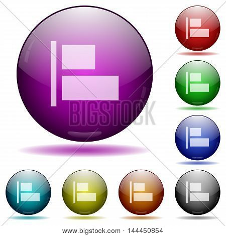 Set of color Align to left glass sphere buttons with shadows.