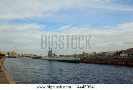 Submarine C-189 at the Lieutenant Schmidt Embankment in St. Petersburg
