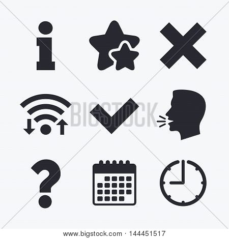 Information icons. Delete and question FAQ mark signs. Approved check mark symbol. Wifi internet, favorite stars, calendar and clock. Talking head. Vector