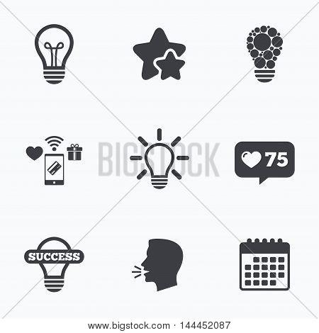 Light lamp icons. Circles lamp bulb symbols. Energy saving. Idea and success sign. Flat talking head, calendar icons. Stars, like counter icons. Vector