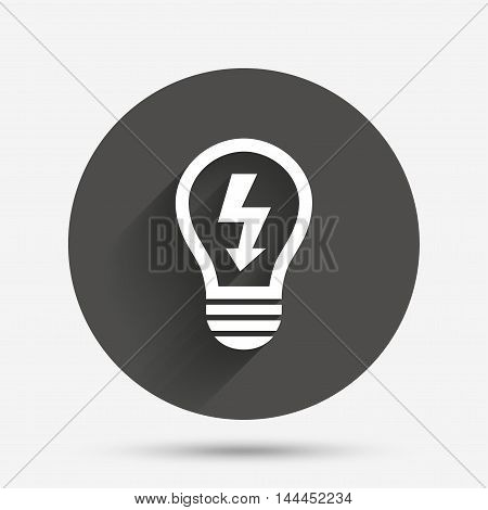 Light lamp sign icon. Bulb with lightning symbol. Idea symbol. Circle flat button with shadow. Vector
