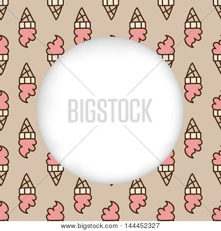 Greeting card background. Paper cut out, white shape with place for text. Frame with seamless pattern. Seamless summer background. Hand drawn pattern. Pink delicious ice cream cone pattern