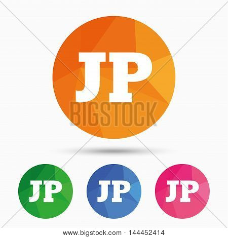 Japanese language sign icon. JP Japan translation symbol. Triangular low poly button with flat icon. Vector