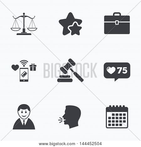 Scales of Justice icon. Client or Lawyer symbol. Auction hammer sign. Law judge gavel. Court of law. Flat talking head, calendar icons. Stars, like counter icons. Vector