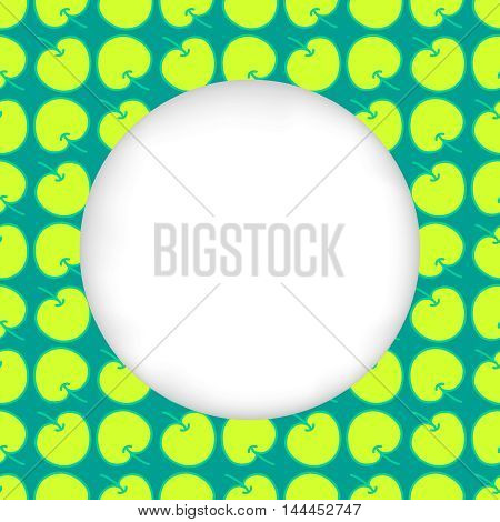 Greeting card background. Paper cut out, white shape with place for text. Frame seamless pattern. Seamless summer background. Bright colorful green apples. Seamless harvest summer hand drawn pattern