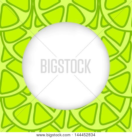 Greeting card background. Paper cut out, white shape with place for text. Frame with seamless pattern. Seamless summer background. Hand drawn pattern. Bright and colorful green lime summer pattern