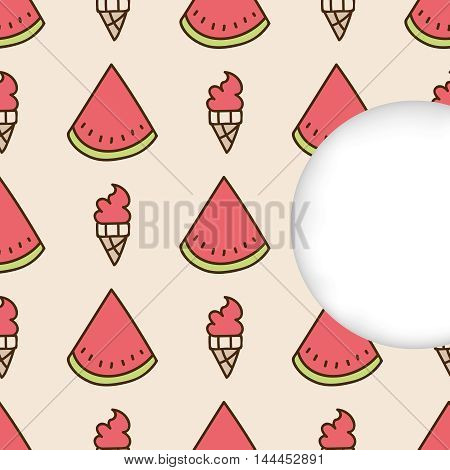 Greeting card background. Paper cut out, white shape with place for text. Frame with seamless pattern. Seamless summer hand drawn pattern. Slices of watermelon and watermelon ice cream cone
