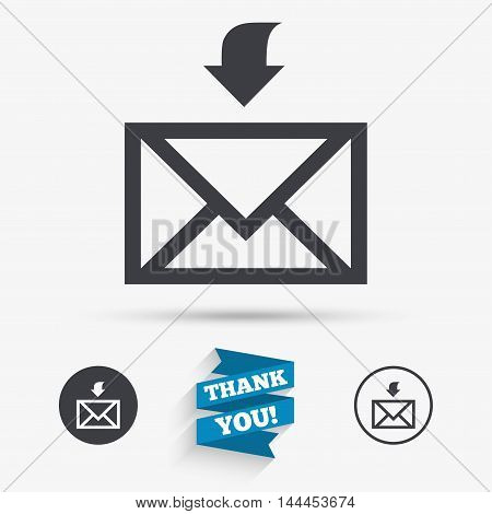 Mail receive icon. Envelope symbol. Get message sign. Mail navigation button. Flat icons. Buttons with icons. Thank you ribbon. Vector