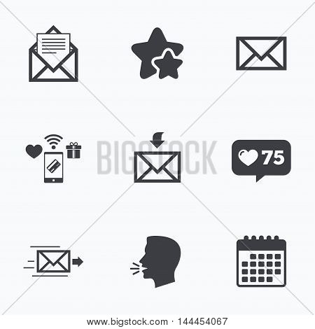 Mail envelope icons. Message document delivery symbol. Post office letter signs. Inbox and outbox message icons. Flat talking head, calendar icons. Stars, like counter icons. Vector