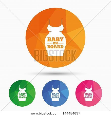 Pregnant woman dress sign icon. Baby on board. Maternity clothing symbol Triangular low poly button with flat icon. Vector