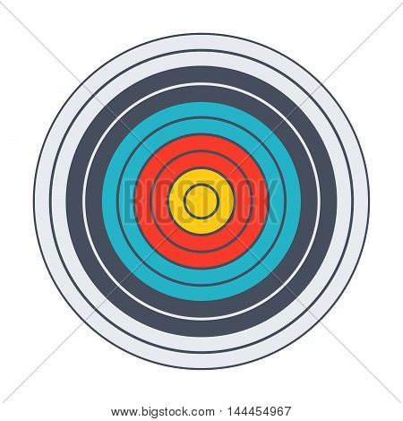 Archery target with colored bands in flat style.