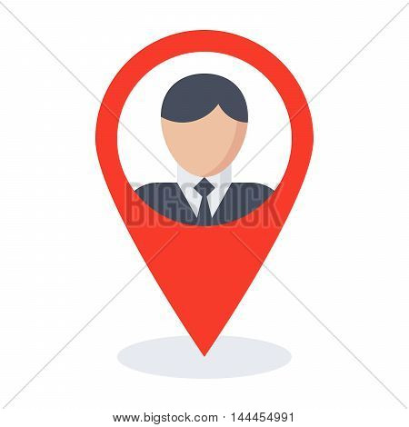 Business location concept with businessman and map pointer.